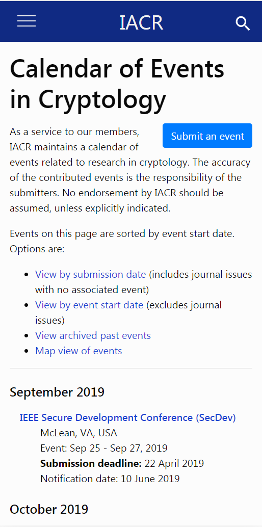 Mobile screenshot of the calender of events page.